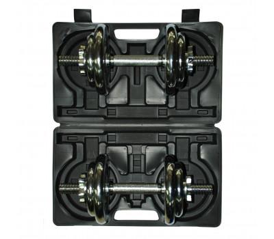 Набор разборных хромированных гантелей в кейсе 4502CD-1