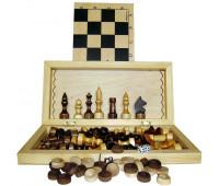 Игра 3 в 1 Шахматы, шашки, нарды (29,5х14.5см) арт. 02-39