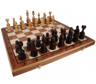 """Шахматы """"Дебют"""" с инкрустацией доски деревом"""