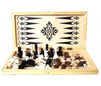 Набор 3 в 1 Шахматы+шашки+нарды (малый) арт. 02-110