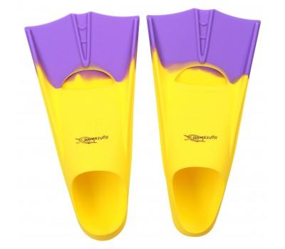 Детские короткие ласты для плавания в бассейне Light-Swim LS 11 (CH) YELLOW/PURPLE р. 25-29