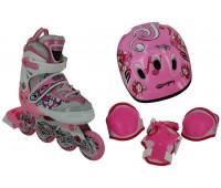 Набор для катания на роликовых коньках BW-908SET-PN Размер 35-38