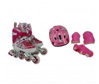 Набор для катания на роликовых коньках BW-906SET-PN Размер 35-38