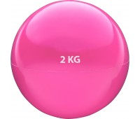 Медбол HKTB9011 - 2 кг d-13см. (розовый) (ПВХ/песок)