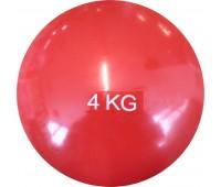 Медбол HKTB9011 - 4 кг d-17см. (красный) (ПВХ/песок)